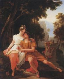 Propertius and Cynthia at Tivoli, by Auguste Jean Baptiste Vinchon